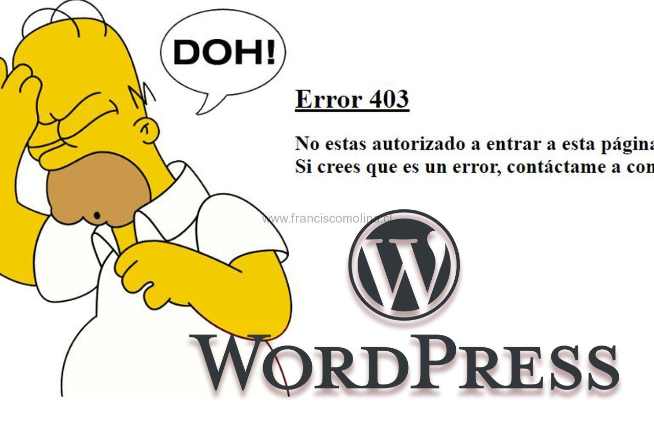 Error 403 al actualizar entrada en WordPress
