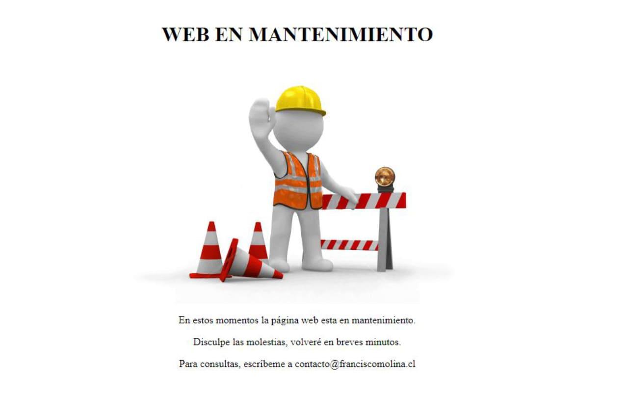 Página de mantenimiento personalizada