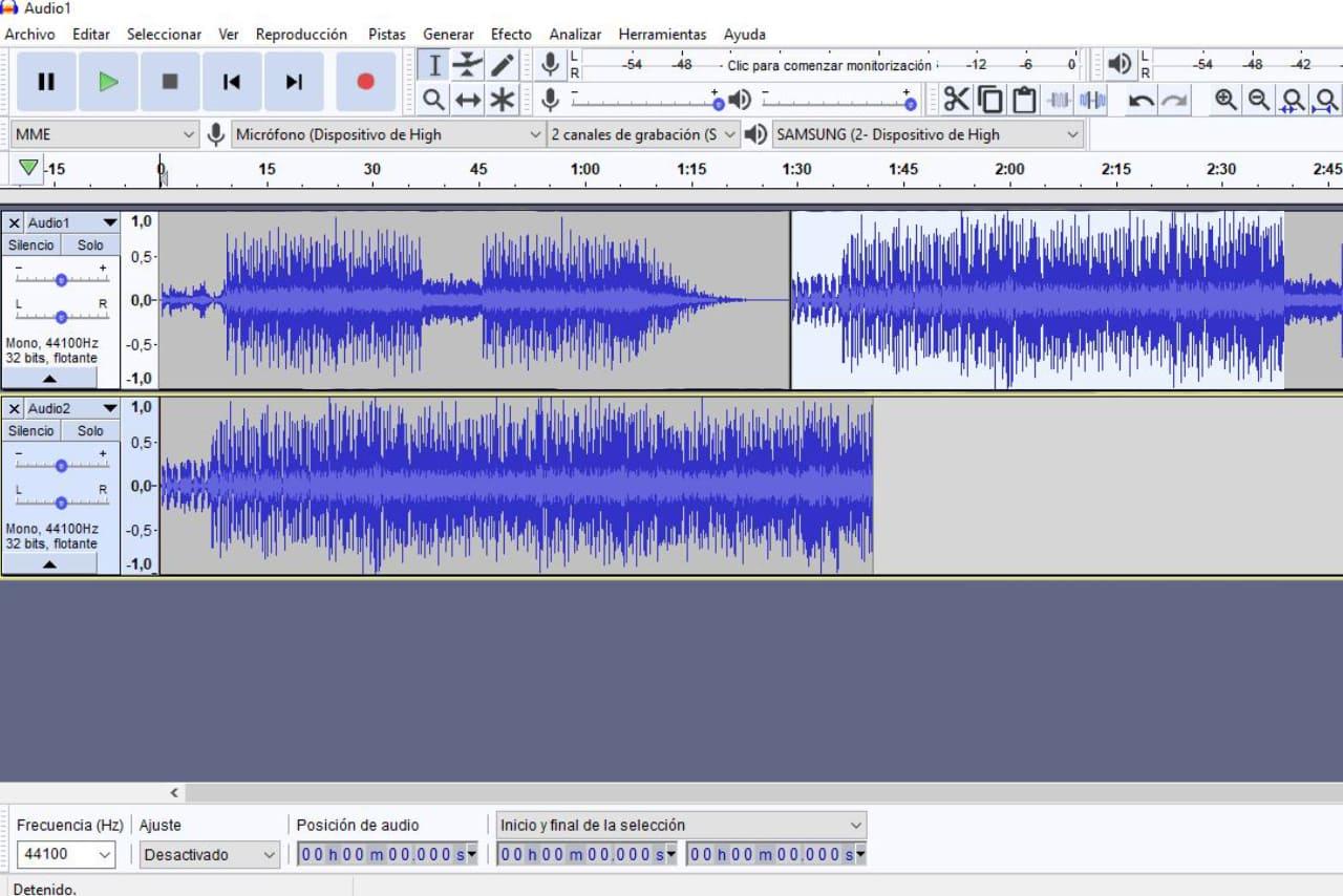 Unir canciones con Audacity