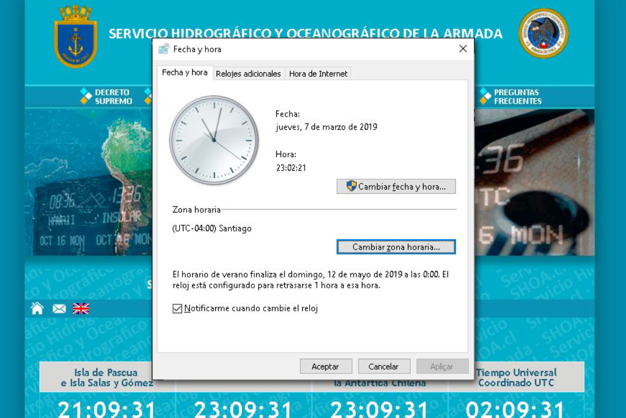 Cambio de hora en Windows